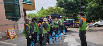 북구자율방재단 봉사단에서 삼각동 방역활동